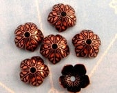 8 MM Leaf Bead Cap, Antique Copper, 6 Pieces  AC179