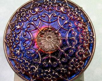 Czech Glass Mandala Button, Blue, Purple, Pink, Gold, 32 mm, With Pendant Converter C265