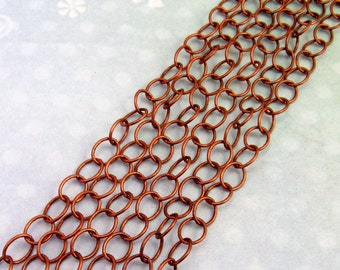 Cable Chain 6mm, Soldered, Antique Copper 3' AC136