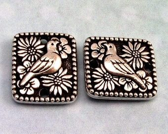 Paloma Bird Link, Connector Antique Silver, TierraCast 2-Pc. TS59