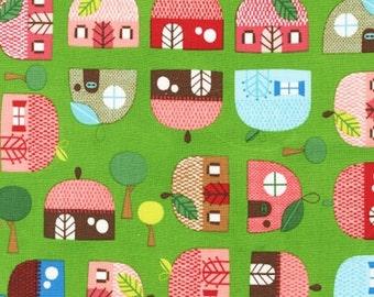 Appleville - Apple Faces by Suzy Ultman from Robert Kaufman Fabrics ASD-11467-47 Grass