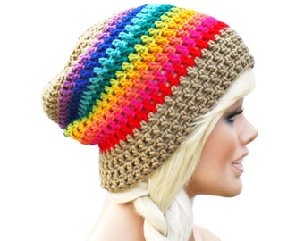 Crochet Slouch Rainbow Beanie with Beige Base Pride Mens Womens