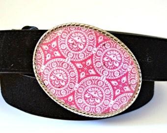 Belt Buckle Pink Fuchsia Medallion Print