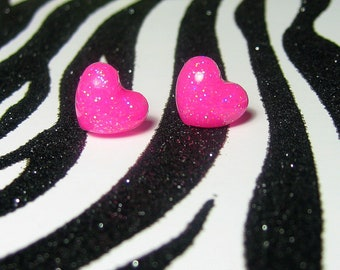 Neon Pink Heart Earrings, Hot Pink Studs, Kawaii Resin Jewelry
