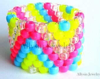 Neon Kandi Cuff Bracelet, ZigZag Raver Plur, Hot Pink, Neon Yellow, Baby Blue Zig Zags