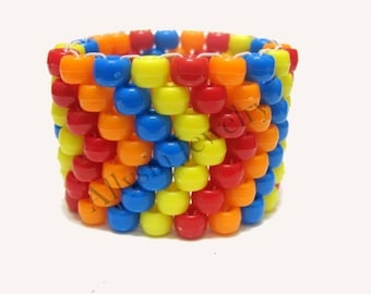 Chevron Kandi Cuff, Red Orange Blue Yellow Arrow Bracelet, Raver Plur Accessories