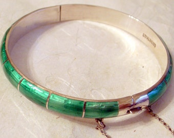 Sterling Enamel Hinged Bangle - SALE -Free US Shipping - Sterling Silver Bangle-Emerald Green Guilloche enamel-safety chain - 7 Inch