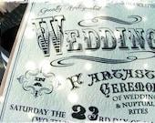 Vintage Inspired Circus Wedding Invitations -typography wedding, invitation, RSVP cards