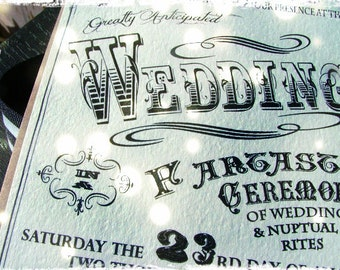 Vintage Inspired Circus Wedding Invitations -typography wedding, invitation, RSVP cards