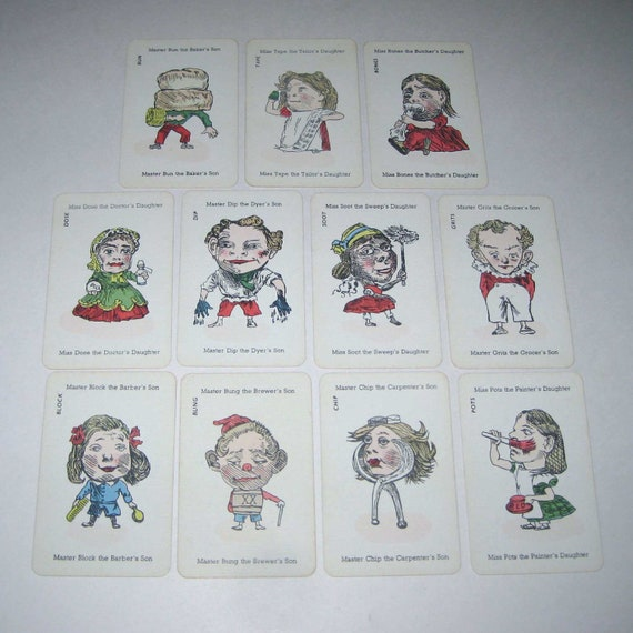 Vintage Happy Families Playing Cards with Over Sized Heads from England Lot of 11 Set B