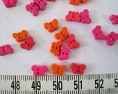 140 pcs of  Super Tiny Butterfly Button in Red Pink Orange  - 8mm LAST SET