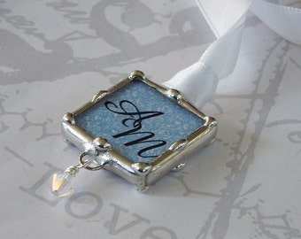 Wedding Bouquet Charm, Something Blue, Soldered Glass, Silver Frame, Photo Pendant, Monogram Keepsake, Bridal Bouquet
