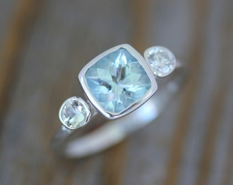 Aquamarine Anniversary Ring, Aquamarine and White Sapphire Cushion Cut Gemstone Birthstone Ring in Sterling Silver, Engagement Ring