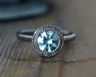 Light Blue Aqua Zircon Ring // 14k White Gold and Zircon Engagement Ring // Art Deco Inspired Gemstone Engagement Ring for the Unique Bride