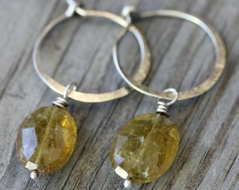 Ready To Ship, Green Garnet Gemstone Dangle Earrings, Sterling Silver Hoop Earrings