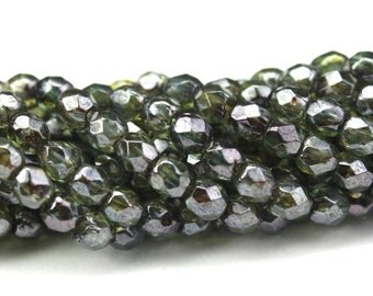 Czech Glass Beads Fire Polished Faceted Rounds 3mm Luster Transparent Green (50) CZF487