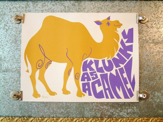 Vintage 1960s Mod Print Klunky As a Camel Print Bright Mod 1960s Mid Century Vintage Poster Humor Print Artist Print S. Laxson