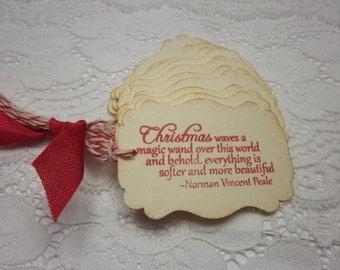 Christmas Gift Tags - Christmas Waves a Magic Wand - Handmade