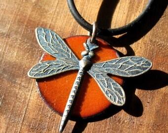 Enamel Jewelry, Dragonfly Pendant Necklace, Persimmon Orange