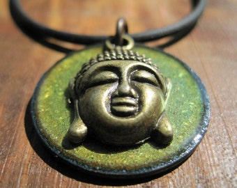 Buddha Necklace, Copper Enamel Olive Green, Buddha Pendant, Buddha jewelry