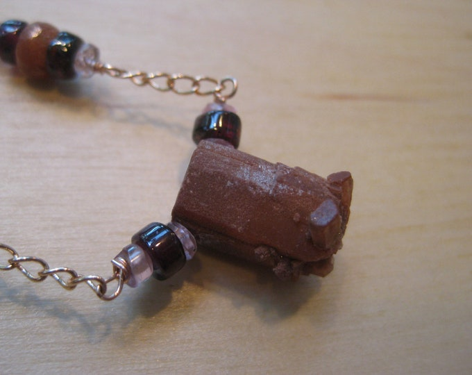 Insouciant Studios Red Star Necklace Aragonite Garnet