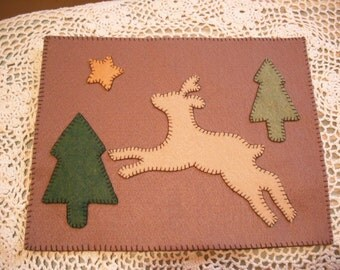 Deery Me - Wool Penny Rug- Candle Mat