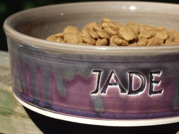 Ceramic Personalized Pet Pottery Dog Dish Medium By