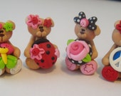 Mini Mix Set Peace, Butterfly, Ladybug, Flower Bears Polymer Clay Charm Bead Scrapbooking Embelishment Bow Center Pendant Cupcake Topper