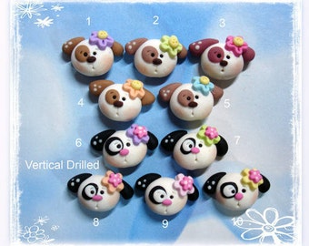 Cute Puppy Dog Polymer Clay Charm Bead Scrapbooking Embelishment Bow Center Pendant Cupcake Topper