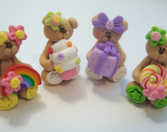 Mini Mix Set Cupcake, Rainbow, Lollipop, Gift Bears Polymer Clay Charm Bead Scrapbooking Embelishment Bow Center Pendant Cupcake Topper