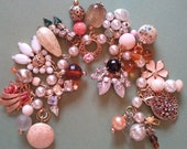 """Vintage Charm Bracelet """" Fall Luxe """" Romance  Upcycled Altered Art Repurposed"""