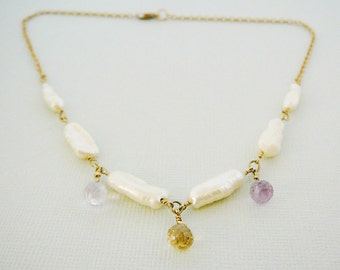 Pearl Ametrine Necklace Freshwater stick pearls 16 inch 14kt Gold Filled Jewelry Bridal Wedding