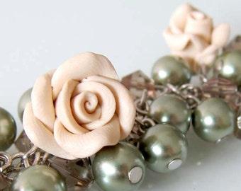 Rose Cluster Bracelet - Handmade Polymer Clay Rose Bracelet - Cream Rose Charm Bracelet