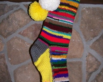 Old Fashioned Hand Knit Rag Series Christmas Stocking Gray Trim YELLLOW Gusset with Bright Pink Snowflake Detail