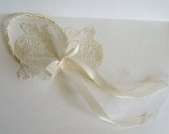 Ivory Flower Girl Headpiece Custom Size Halo Available in White or Ivory