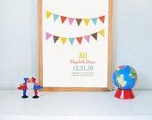 Flag Print, nursery wall art, baby name print, custom print, birth date print, kids wall art, bunting, CUSTOM 11x14