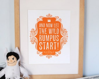 Where the Wild Things Are print with Let the Wild Rumpus Start favorite saying, CUSTOM, LARGE