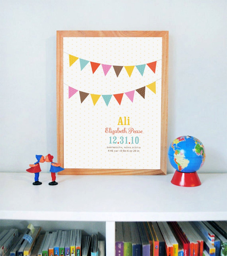 Poster Weights Etsy: Flag Print Nursery Wall Art Baby Name Print Custom Print