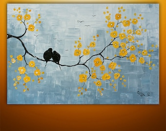 Abstract Painting, Birds Painting, Large Painting, Tree Painting, Wall Art, Wall Decor, Abstract Painting, Art, Blossom, Made To Order