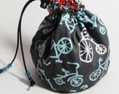 Sock knitting drawstring bag. Michael Miller Bicycles. UK seller