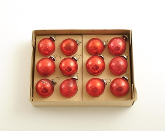 Vintage Christmas Ornaments Box Red Ornaments Small Glass Ornaments Christmas Decoration