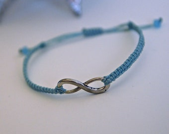 CUSTOM Infinity Bracelet - silver and poly cord with macrame adjustable sliding knot