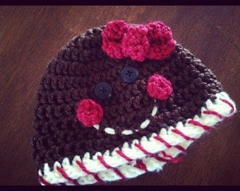 Crochet PATTERN Gingerbread hat (for boy or girl -- sizes preemie through adult extra large)