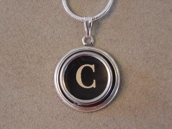 Typewriter key jewelry necklace BLACK LETTER C  Typewriter Key Pendant Necklace - Initial C serif font letter
