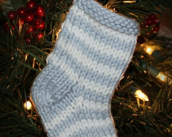 PRE-ORDER Baby Boy First Christmas Ornament Hand Knit Stocking
