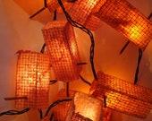 Patio Garden Lights - Handmade Paper - Set of Ten Lanterns - Pink & Orange