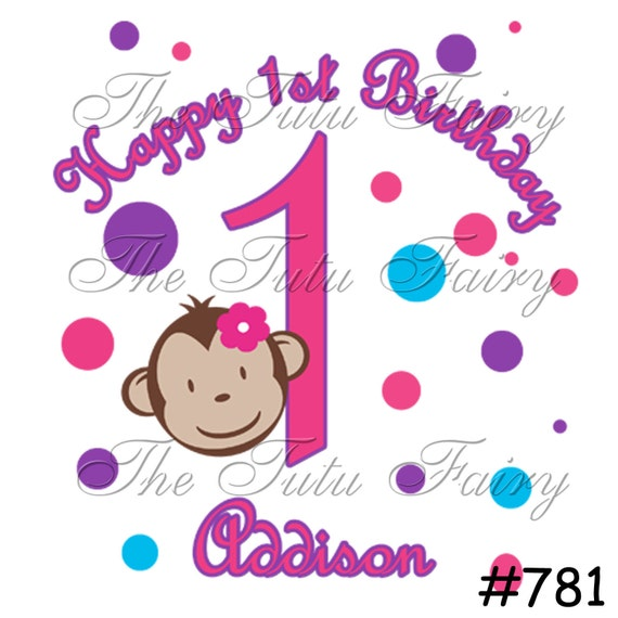 Mod Monkey girl face pink blue purple dots Birthday shirt t-shirt name age personalized baby toddler 12 18 2t 3t 4t 5t 5/6 7 1st first