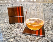Handmade Exotic Wood Coaster with Caddy Set - Bloodwood and Black Walnut