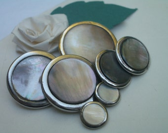 Antique and Vintage Buttons -   Pearls Set in Metals