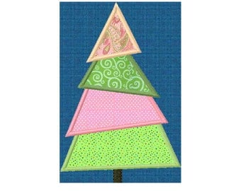 INSTANT Download - Christmas tree machine embroidery design 5 sizes